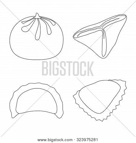 Isolated Object Of Food And Dish Sign. Collection Of Food And Cooking Stock Vector Illustration.