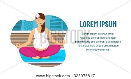 Prenatal Yoga Center Web Banner Vector Template. Relaxed Pregnant Lady Practising Breathing Meditati
