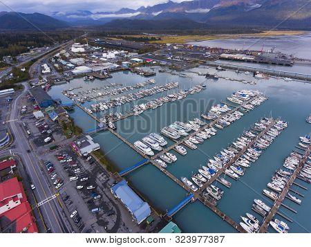 Aerial View Of Seward Boat Harbor And Waterfront In Fall, Seward, Kenai Peninsula, Alaska, Usa. Sewa