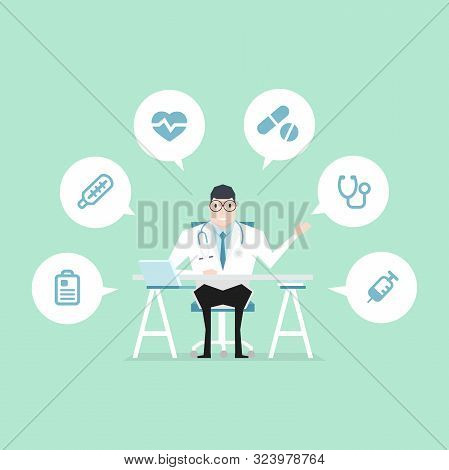 Doctor Sat At The Desk With Medical Icons.