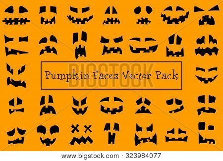 Pumpkin Faces. Halloween Jack O Lantern Face Silhouettes. Monster Ghost Carving Scary Smileys Vector