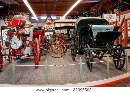 Mackinac Island Mi /usa - July 9th 2016: Antique Carriages That Were Used On Mackinac Island Now On