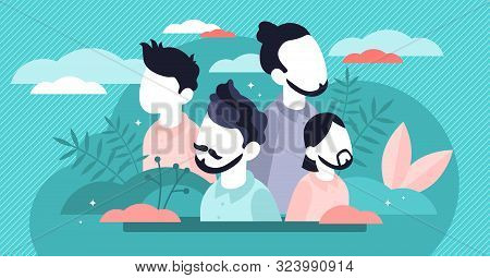 Hairstyle Vector Illustration. Flat Tiny Male Face Fashion Persons Concept. Gentleman Head Haircut W