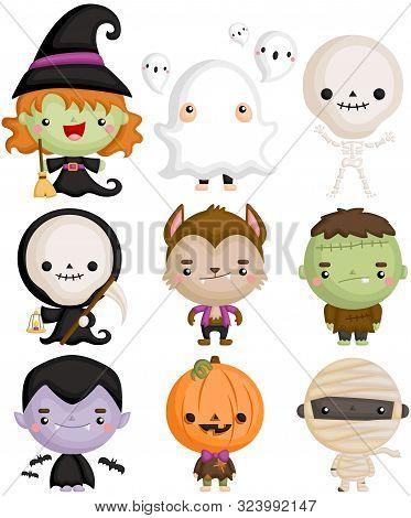 A Vector Set Of Cute Kids In Halloween Character Costumes
