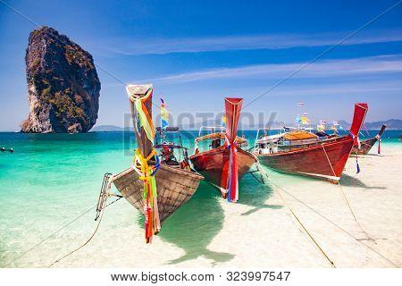 long tail boats on Ko Poda island