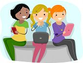 Illustration of Girls Using Tablet PCs poster