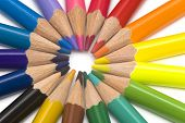 colored pencils in a round close up poster