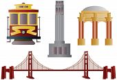 San Francisco Golden Gate Bridge Trolley Coit Tower and Palace of Fine Arts Illustration poster