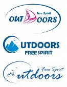 Three vector travel logos -free spirit outdoors poster