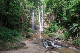 Mok Fa Waterfall Is Beautiful Waterfall In Chiang Mai, Thailand