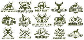 Collection Of Hunting Logo, Vector Set Of Hunt Label, Badge Or Emblem, Duck And Deer Hunt Logo