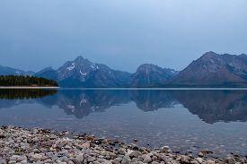 Early Moring View Of Jackson Lake Colter Bay Village In Grand Teton National Park Wyoming