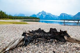 Fire Pit On Jackson Lake In Colter Bay Village In Grand Teton National Park Wyoming