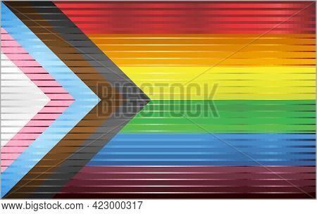 Shiny Progress Pride Flag  - Illustration,   Three Dimensional Rebooted Flag