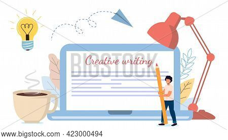 Content Creative Writing Copywriting And Content Marketing Concept Flat Tiny Literature Text Author
