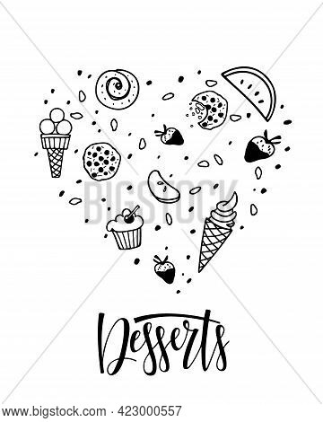 Heart Shape Of Sweets With Desserts Text Isolated. Different Kinds Of Sweets. Ice Cream, Pastries, F