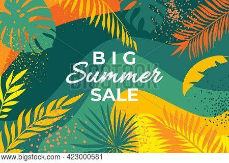 Summer Banner With Tropical Leaves. Abstract Summer Poster With Palm Branches And Hand Drawn Circles