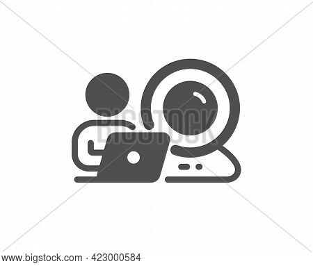 Video Conference Simple Icon. Online Training Sign. Webcam Presentation Symbol. Classic Flat Style.
