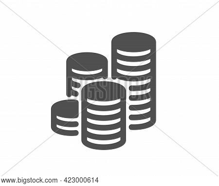 Coins Simple Icon. Cash Money Sign. Business Income Symbol. Classic Flat Style. Quality Design Eleme