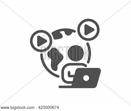 Video Conference Simple Icon. Online Meeting Sign. Start Presentation Symbol. Classic Flat Style. Qu