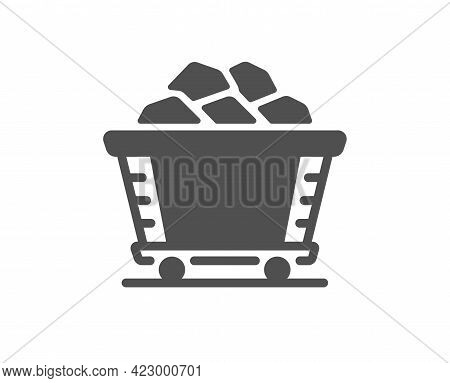 Coal Trolley Simple Icon. Mine Wagon Sign. Stone Or Rock Cart Symbol. Classic Flat Style. Quality De