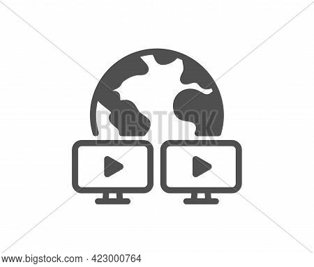 Virtual Conference Simple Icon. Online Training Sign. Video Team Presentation Symbol. Classic Flat S