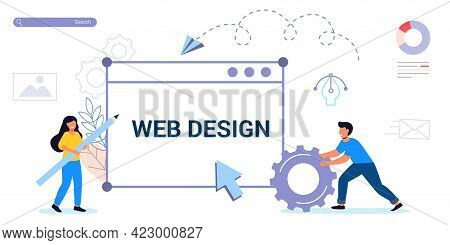 Building Website Project As Programming Homepage Process Tiny Person Modern Vector Illustration Conc