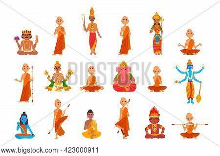 Buddhist Monks In Orange Robes Sitting In Meditation Set Vector Illustration