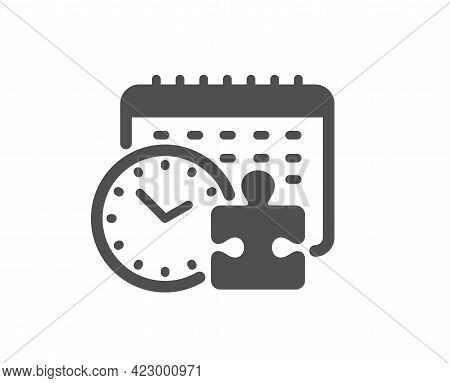 Puzzle Time Simple Icon. Jigsaw Piece With Clock Sign. Business Challenge Symbol. Classic Flat Style