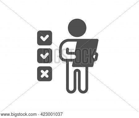 Voting Ballot Paper Simple Icon. Vote Checklist Sign. Public Election Symbol. Classic Flat Style. Qu
