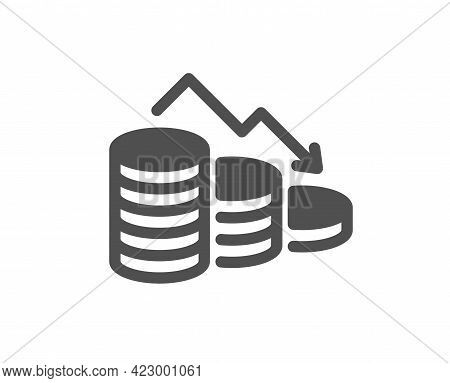 Money Loss Simple Icon. Financial Crisis Sign. Business Bankruptcy Symbol. Classic Flat Style. Quali