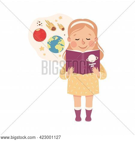 Cute Girl Having Astronomy Lesson, Elementary School Student Reading Book About Planets, Kids Educat