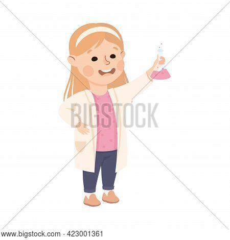 Cute Girl Having Chemistry Lesson, Elementary School Student Holding Flask, Kids Education Concept C