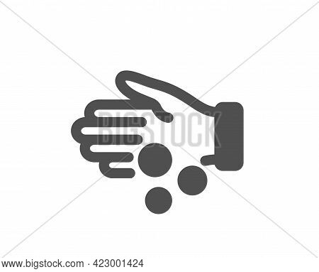 Donation Money Simple Icon. Tips Money Sign. Giving Cash Hand Symbol. Classic Flat Style. Quality De