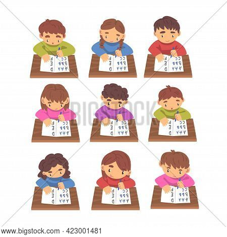 Cute Boys And Girls Learning To Write Set, Elementary School Students In Casual Uniform Making Homew