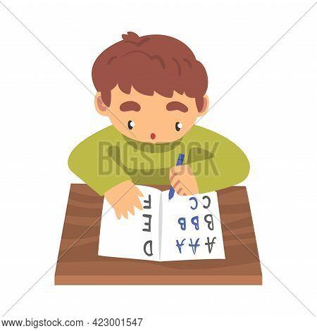 Cute Boy Learning To Write, Elementary School Student Making Homework Cartoon Vector Illustration