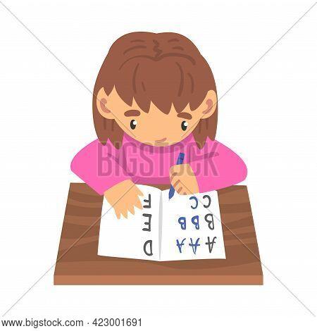 Adorable Cute Girl Learning To Write, Elementary School Student Making Homework Cartoon Vector Illus