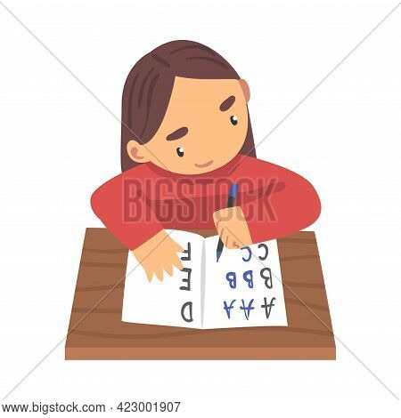Adorable Little Girl Learning To Write, Elementary School Student Writing English Letters In Noteboo