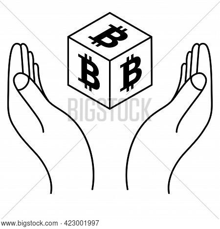 Hands With Bitcoin Coin In Isometric Style. Crypto Currency Save Concept. Cryptocurrency Logo. Digit