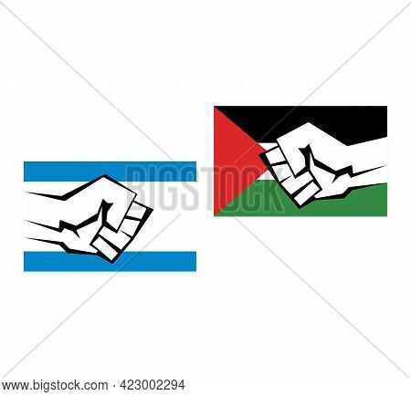 Two Flags Of Palestine And Israel With The Image Of A Kulok On Them. War Of Palestine And Israel Con