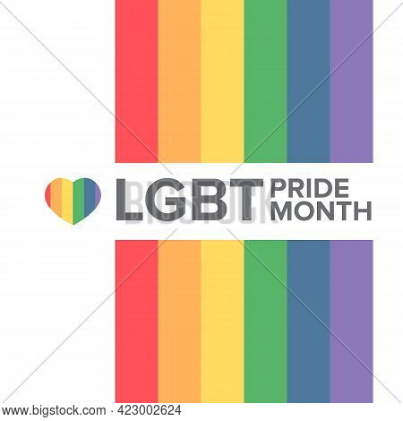 Happy Pride Month Square Banner With Pride Color Striped Ribbon Flag Isolated On White Background. L
