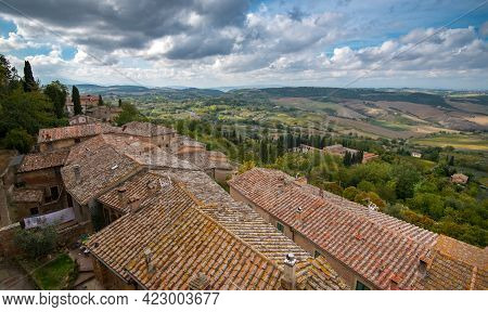 Landscape Of Tuscany And House Rooftops The Walls Of Montepulciano Hill Town, Toscana Italy Europe