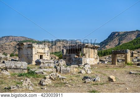 Crypts In Necropolis In Antique City Hierapolis, Pamukkale, Turkey. Most Of Them Belonged To Local N