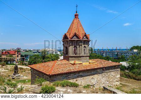 Side View Onto Armenian Apostolic  Church Of St George, Feodosia, Crimea. It Was Built In Xiv Centur