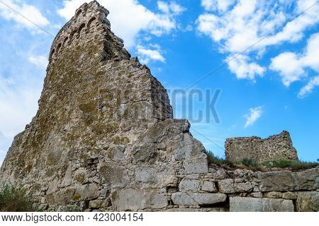 Remains Of Tower Of Giovanni Di Scaffa, Feodosia, Crimea. Other Name Is Round Tower. It's One Of Mos