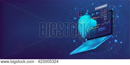 Laptop With Shield, Cyber Security Concept. 3d Laptop And Cloud Data Under The Protection. Cybersecu