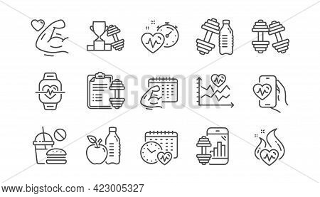 Fitness Time Line Icons. Bike Workout, Strong Muscle Arm, Gym Fit Dumbbell. Training Analysis, Worko