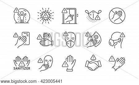 Touch Warning Line Icons. Stop Touch Face, Wear Medical Mask. Covid Cough Symptoms, Wash And Disinfe