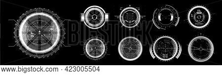 Fui Black And White Elements. Military Crosshair In Gun. Hud Aim Of Sniper Weapon Or Futuristic Game
