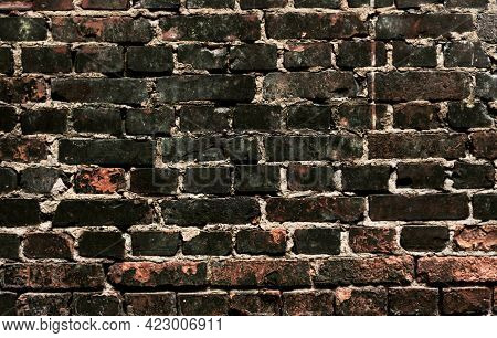 Brick Wall. Red Burnt Brick. Background Or Texture Of Blocks Of Different Colors.